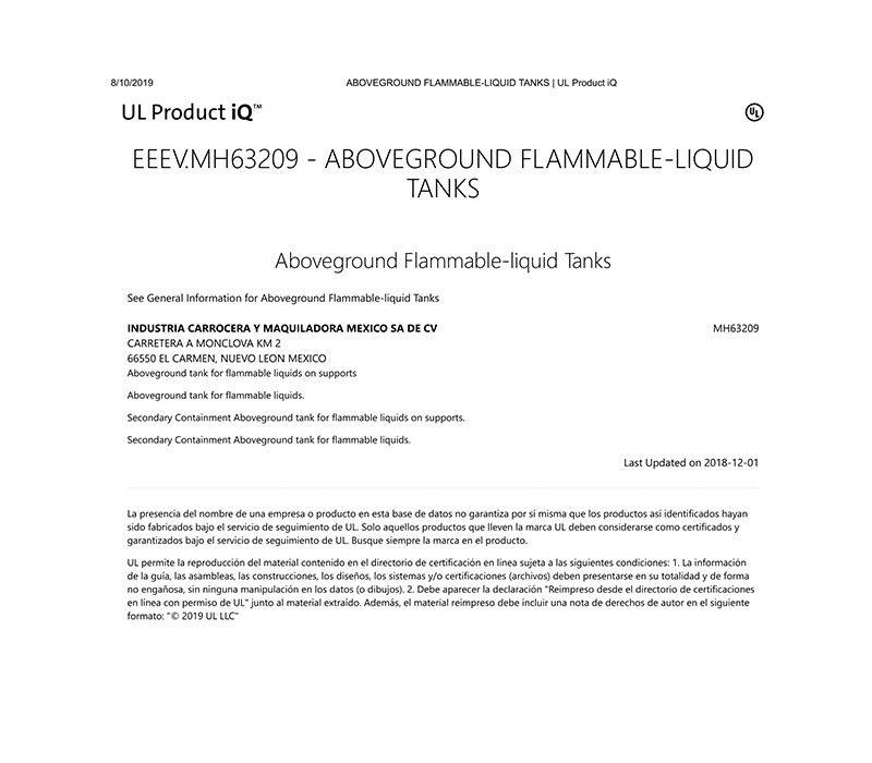 Certificado UL - Camex